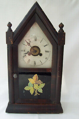 1 DAY SMALL GOTHIC TIME PIECE ALARM---JEROME & Co. CONN. U.S.A.--SPARES/REPAIR