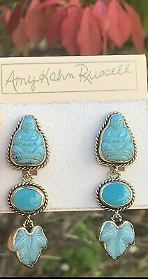 Amy Kahn Russell-Br, Turquoise and chrysoprase Hand Carved Buddha earrings.
