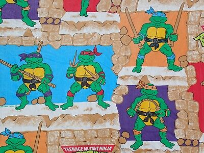 Teenage Mutant Ninja Turtles Twin Flat Bed Sheet Bedding Fabric TMNT Vintage