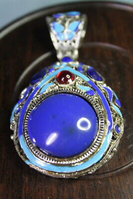 Collectable Rare Miao Silver Carved Butterfly Inlay Blue Beads Exquisite Pendant