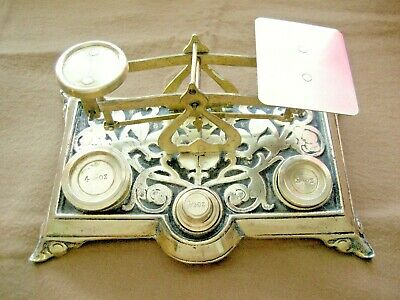 Fancy Elaborate Antique Vintage English Brass Postal Scale With Five Weights