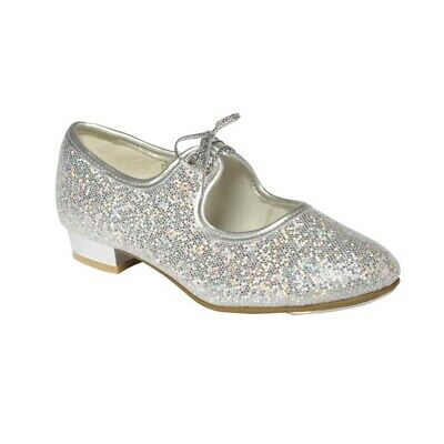 Dance Depot Girls Tap Dancing Shoes Brand New Low Heel Silver Hologram Glitter