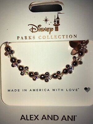 Disney Parks Alex & And Ani Rose Gold Mickey Icon Beaded Bracelet