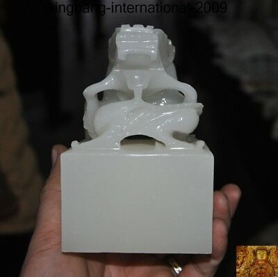 """5"""" Chinese natural White jade Hand carved animal Dragon statue seal Stamp signet"""