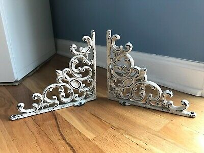"2 White Antique Style 7.5"" Cast Iron Shelf Brackets Garden Rustic Ornate"