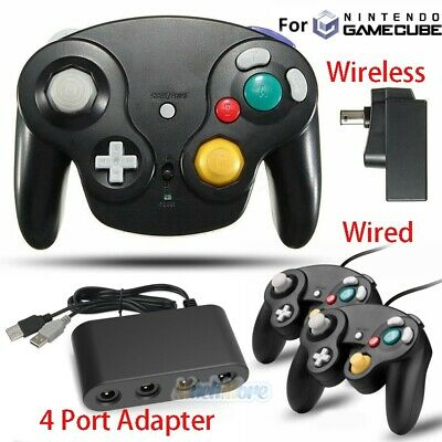 2x Wired/Wireless NGC Controller Gamepad & Adapter for GameCube and Wii Console