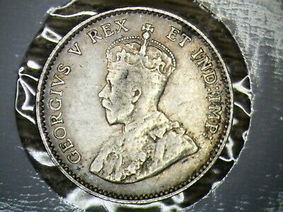 Canadian 1911 King George V Silver 5 Cent Coin