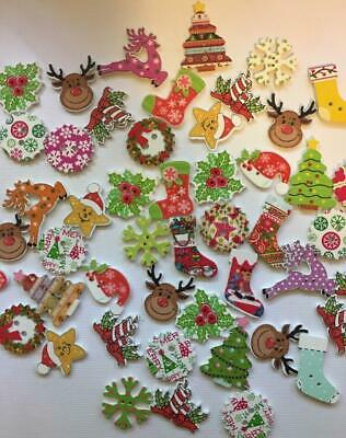 BB CHRISTMAS BUTTONS MIXED pack of 25 wood xmas tree reindeer star holly