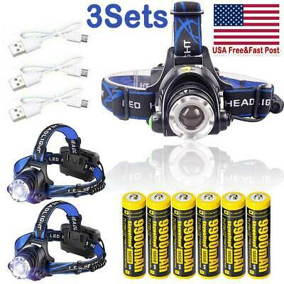 350000Lumens T6LED Zoomable Headlamp USB Rechargeable Headlight 18650 Head Light