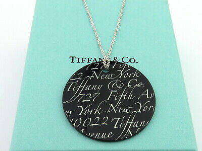Authentic TIFFANY & CO Sterling Silver Black Bone Notes Round Pendant Necklace