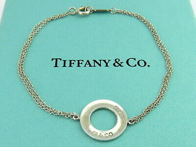 Authentic TIFFANY & CO Sterling Silver 1837 Circle Double Chain Bracelet
