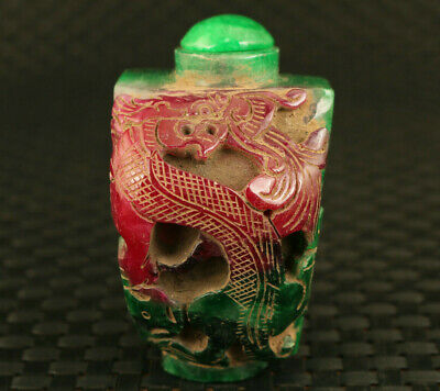chinese rare old jadeite jade hand carving dragon statue exquisite snuff bottle