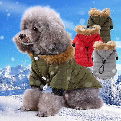 ❤Pet Dog Puppy Warm Coat Jacket Hoodie Parka Thick Apparel Outwear Clothes S-XL❤