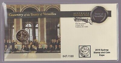 Australia PNC - 2019 Sydney Stamp Coin Expo Ovpt Centenary Treaty of Versailles