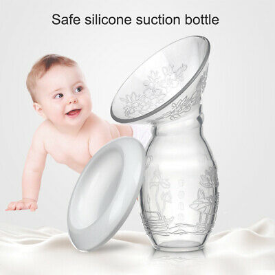 Manual Breast Pump Silicone Baby Breastfeeding Milk Saver Suction Bottle Mom