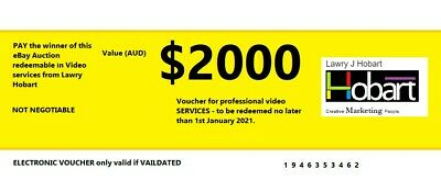 $2,000 e-gift voucher for VIDEO PRODUCTION SERVICES