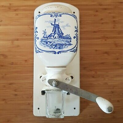 DeVe Dutch Blue Windmill Delft Type Pottery Hopper Coffee Grinder Wall Mill