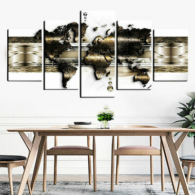5 Panels Large World Maps Art Print Wall Printing Pictures Canvas Home Decor DIY