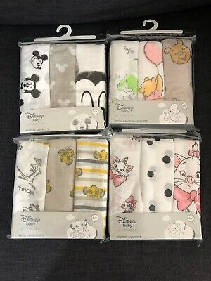 Primark cartoon Marie lion king Winnie the poon Mickey Mouse baby muslin squares