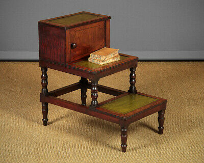 Antique Regency Period Mahogany Library Steps c.1820.