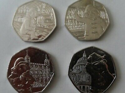 Full set of 4 paddington bear unc at station/palace/tower/& st pauls 50 p coins