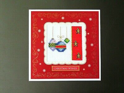 "Completed cross stitch card. Baubles, stars. Christmas wishes . 5.7"" x 5.7"""
