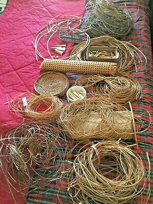 Chair caning assorted lot reed cane pegs basket weave fiber group