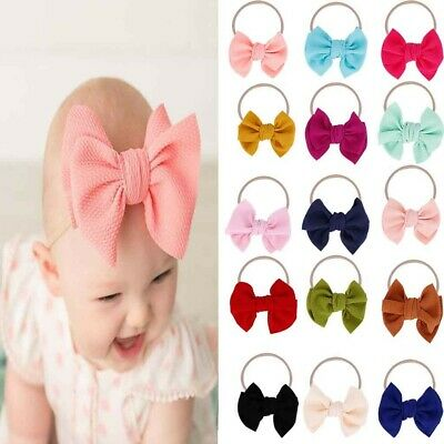 Toddler Baby Girls  Bow Knot Headband Nylon Hairband Stretch Turban Head Wrap UK