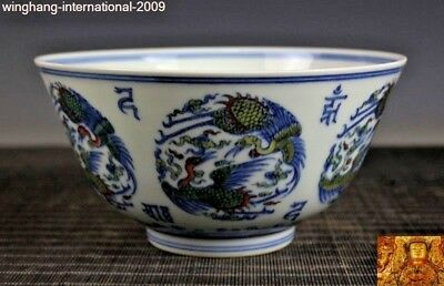 """8"""" old Chinese dynasty palace wucai porcelain Crane bird statue Bowl Tea cup"""
