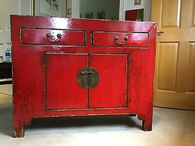 Stunning Vintage Chinese Red Lacquer Cabinet Dresser Wooden