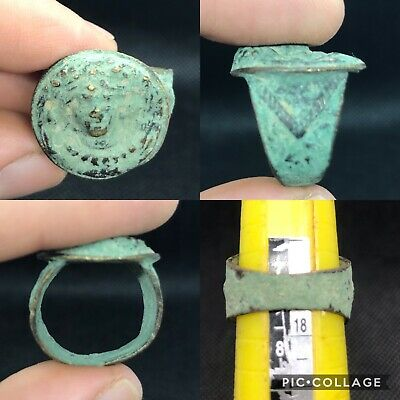 wonderful ancient Roman face unique bronze ring