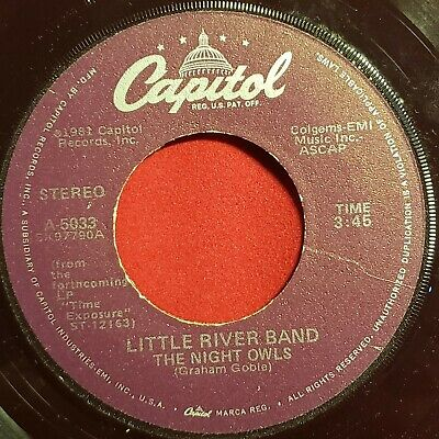"Little River Band: The Night Owls / Suicide Boulevard 1982 Capital Vinyl 7"" 45RP"