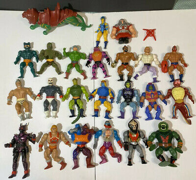 Huge Lot 1980s Vintage MOTU Figures And Parts (Skullman, Skeletor,Battle Cat)