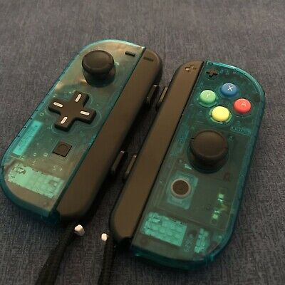 CUSTOM Clear BLUE Nintendo Switch Joy Con PAIR - D PAD + SNES buttons + Straps