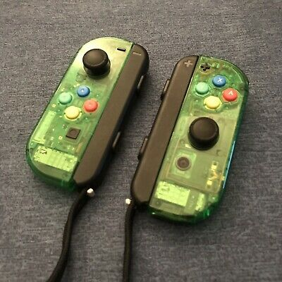 CUSTOM Clear Green Nintendo Switch Joy Con PAIR + SNES buttons + Straps