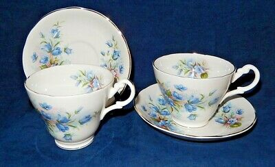 2 ~ Vintage Royal Stuart Bone China ~ Forget-Me-Not ~ Teacup & Saucer Sets