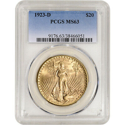 1923-D US Gold $20 Saint-Gaudens Double Eagle - PCGS MS63