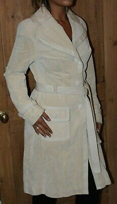 Next Beige Stone Cream Real Leather & Suede Belted Jacket Coat - Size 8