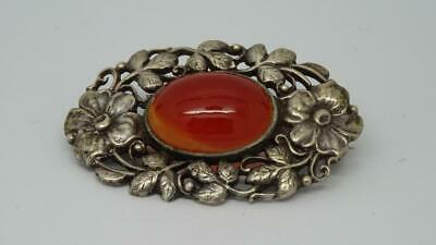 Antique English Silver Arts & Crafts Oval Carnelian Set Cabochon Brooch c1920