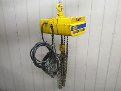 2012 ACCO Wright-Way Electric Chain Hoist 1 Ton 2000 Lbs 3 PH 15' Ft. Lift