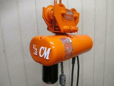 CM Loadstar Model F Electric Chain Hoist w/Trolley 1/2 Ton 500 Lbs 3 PH 10' Lift