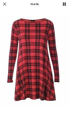 Women Long Sleeve A Line Skater Flared Pleated Swing Dress Tunic Top 8-26