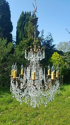 A Beautiful Vintage French bronze 8arm chandelier with glass drops (G300)
