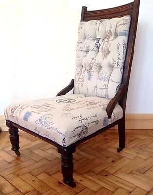 Antique Victorian Nursing/ Fireside Chair Upholstered In Linwood Fabric