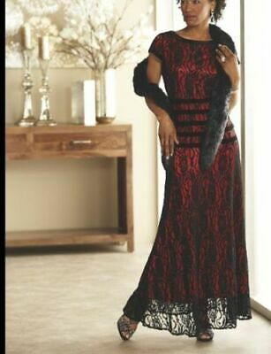 size 6 Varinella Gown Dress red with black lace Ashro new