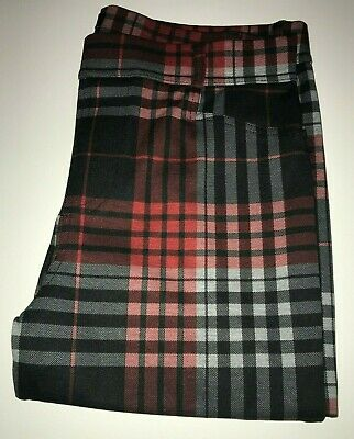 SANCTUARY Slim Ponte Pant RED + BLACK PLAID size Large NWT