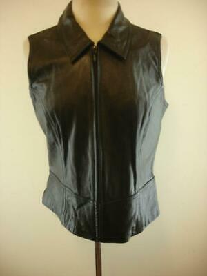 Womens XL Maxima Wilsons Black Stretch Back Leather Vest Jacket Zip-Up Moto SEXY