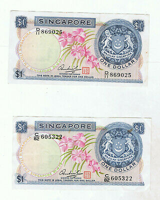2 x RARE SINGAPORE ORCHID SERIES $1 BANKNOTES