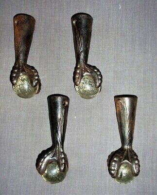 Set of 4 Antique Early 1900's Cast Iron Claw Feet with Glass Balls Nice