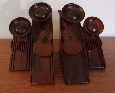 Art Deco Wood Mexican Guitar Player Bookends Stylized Modernist Geometric
